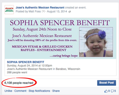 facebook event for sophia